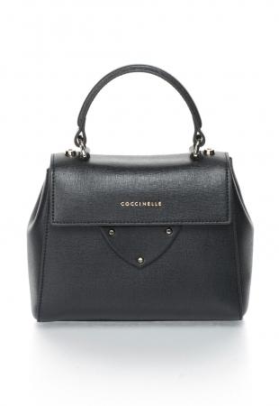 COCCINELLE Черна чанта от кожа Сафиано