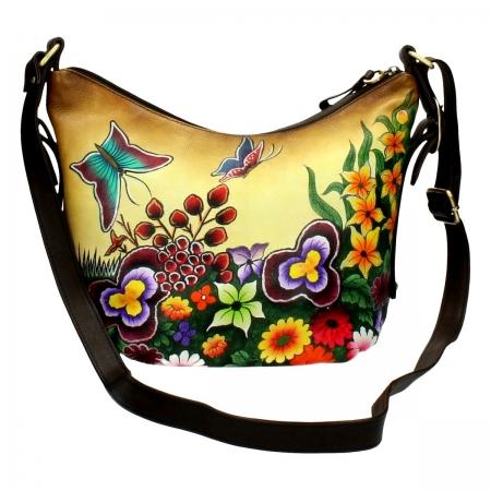Цветна дамска чанта Niarvi Venetian Meadow, Ръчно рисувана кожа