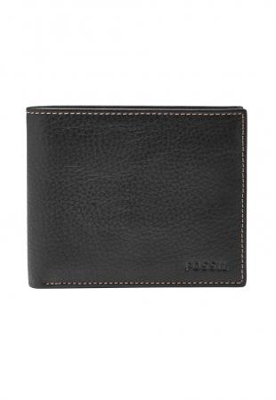 Fossil Черен кожен портфейл с двойно прегъване