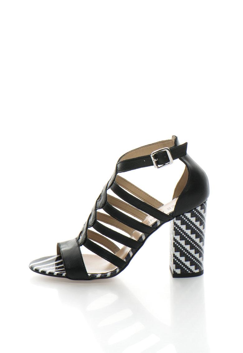 Zee Lane Черни кожени сандали с контрастен ток