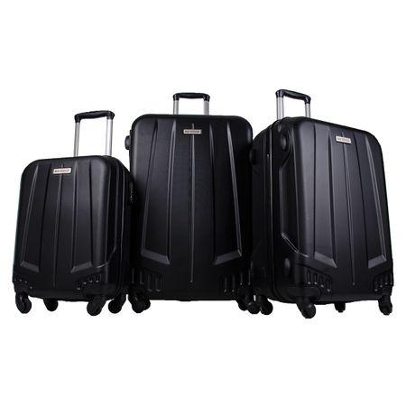 Комплект куфари Ground New ice ABS, 55 см + 65 см + 75 см, 3 броя, Black