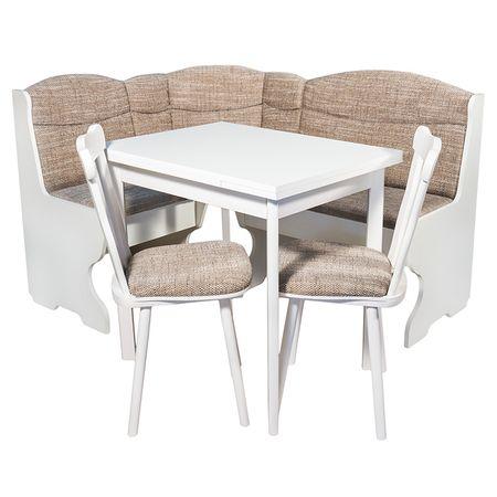 Комплект мебели за кухня Elvila Parma, Кухненски ъгъл + Разтегателна маса + 2 стола, Бели