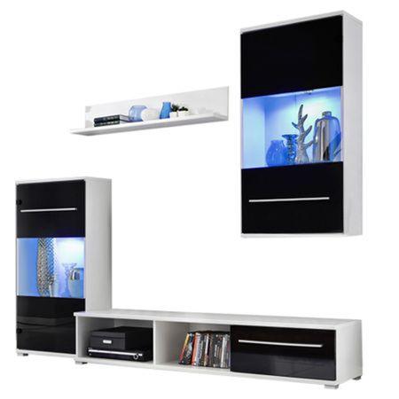 Комплект мебели за дневна Kring Praga със светлини, 230 x 195 x 43 см, Бял/Черен гланц