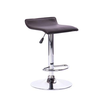Бар стол Kring Soul, Хромиран, Екологична кожа, Черен