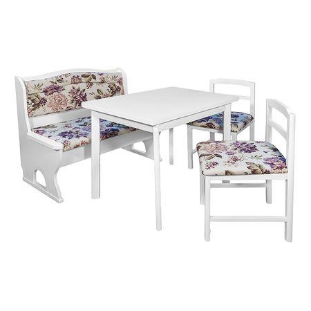 Комплект кухненски мебели Andy Elvila, Бял с лилави цветя