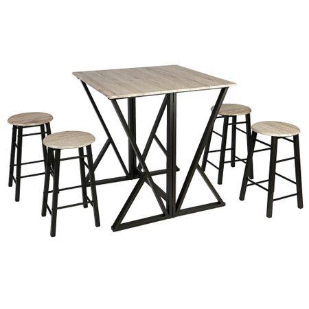 Комплект мебели за кухня/трапезария Kring Enna, Разтегателна маса с 4 бар стола, Sonoma