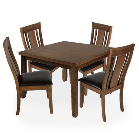 Комплект мебели за кухня/трапезария Kring Florence, Маса и 4 стола, Масивна дървесина+MDF, Кафяв