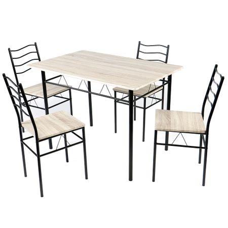 Комплект мебели за всекидневна Kring Prague, Маса + 4 стола, 110x70x75 cм, Черен/Ferrara