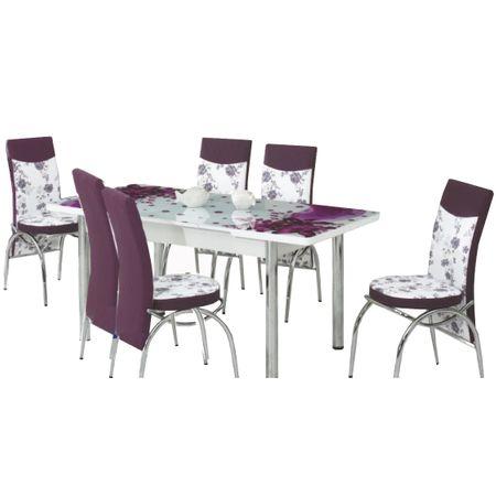 Комплект разтегателна маса и 6 стола Elt Modella, Стъклен плот, 170 x 80 x 70 см, Флорална декорация, Лилав