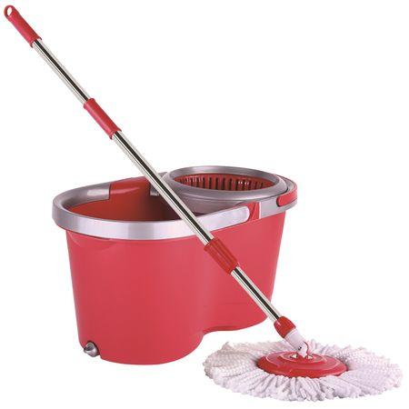 Комплект за почистване Kring simple, Кофа с центрофуга, Пластмаса, 2 резерви за моп