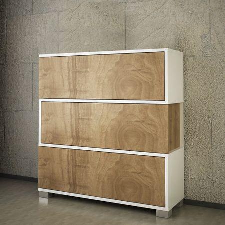 Мебели за антре Napolyon Furny Home, 90 x 93 x 30 см, Ламинирано ПДЧ, Бели/Орех