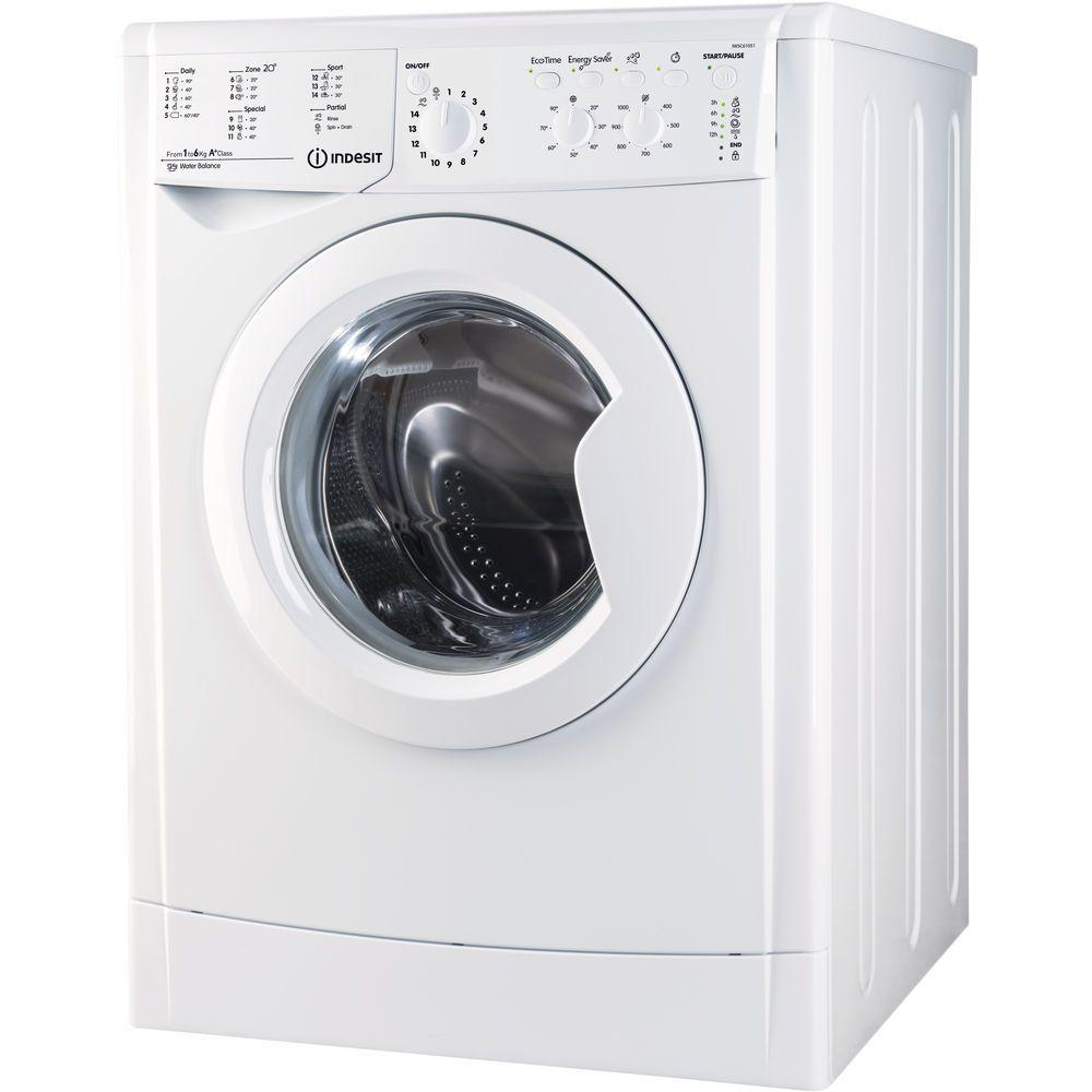 Пералня Indesit Slim IWSC 61051 CECO EU, 6 кг, 1000 об/мин, Клас A+, Бяла