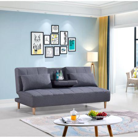 Разтегателен диван Kring Elise, 3 места, Със сгъваема маса, 182x92-120x88 см, Сив