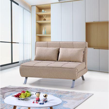 Разтегателен диван Kring Lyle, 2 места, Текстил, 120x80-195x77 см, Бежов