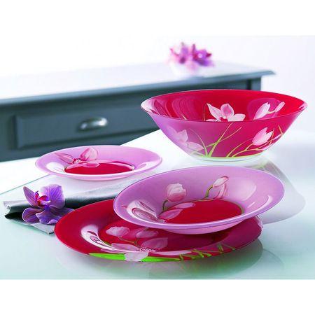 Сервиз за хранене Luminarc, Червена орхидея, 19 бр
