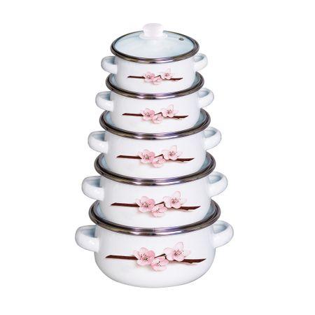 Комплект емайлирани тенджери FESTA, VANORA, 10 части, Модел cherry