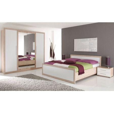 Комплект мебели за спалня Belinda Black Red White, Легло 160 x 200 с подложка за матрак, Sonoma дъб/Бял