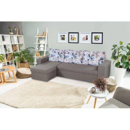 Ъглов диван Oslo, Сгъваем, Grey Blue Flower Bedora, 247 x 148 x 78 см, Кутия за съхранение