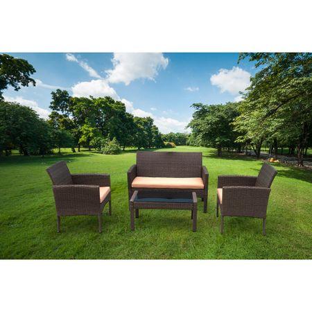 Комплект градински мебели Kring Bahamas: Пейка + 2 стола + Маса, Оранжев