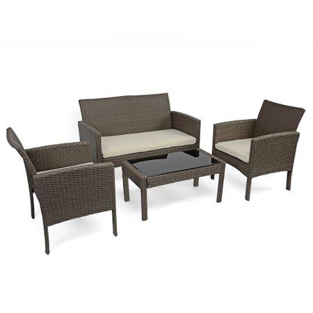 Комплект мебели за градина/тераса Kring Bahamas, Канапе, 2 Фотьойла, Маса, Бежови
