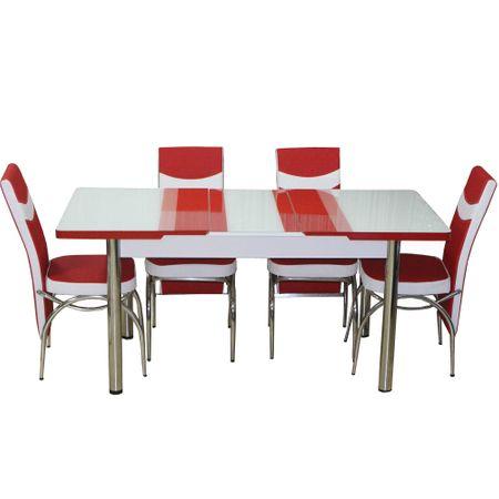 Комплект разтегателна маса + 4 стола Modella, Код 1450, Червен/Бял