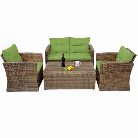 Градински комплект Kring Summer Bali, Канапе 2 места, Масичка и 2 фотьойла, Ратан, Кафяви, Зелени възглавнички