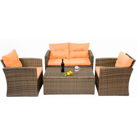 Градински мебели Kring Summer Bali, Диван 2 места, Масичка и 2 фотьойла, Оранжеви