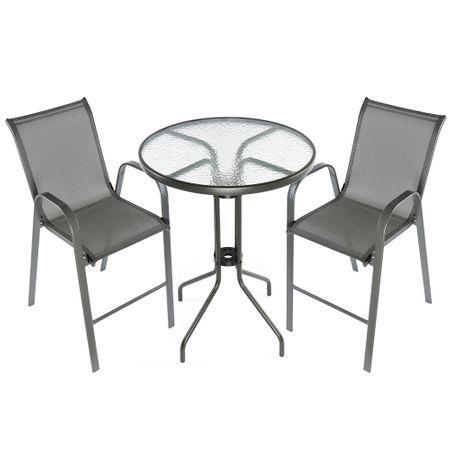 Комплект градински мебели Kring Bruxelles Bar, Маса и 2 стола, Метал/Стъкло, Сив