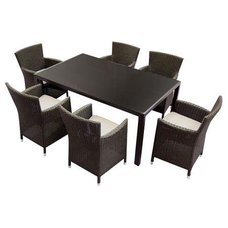 Комплект градински мебели Kring Thomas, Маса, 6 Стола, 167.5x101.5x73, Кафяв