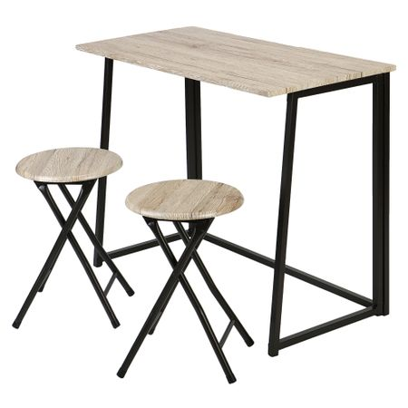 Комплект мебели за кухня/трапезария Kring Bavaria, Маса с 2 сгъваеми стола, Бежови/Черни