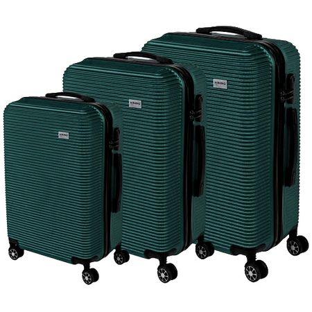 Комплект куфари KRING La Paz, ABS, 55 см + 65 см + 75 см, Dark Green