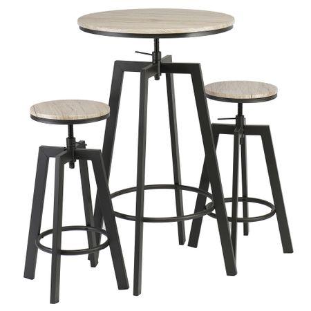 Комплект за бар Kring Prato, Маса и 2 стола, Регулируема височина, Дърво/Метал, Черен / Sonoma