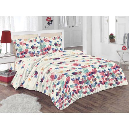 Спален комплект Kring Pastel, Памук, Принт на сърца, Многоцветен