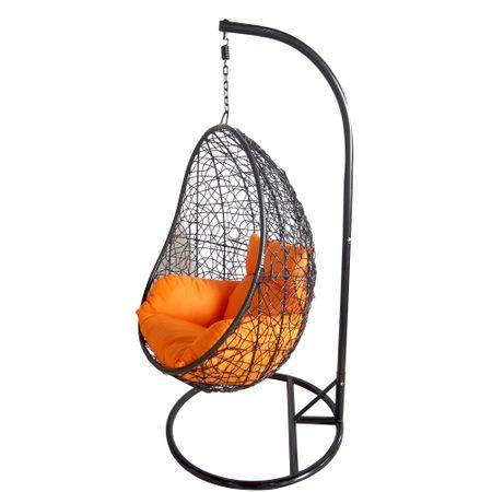 Висящ стол Kring Tear, Метал и ратан, Черен/Оранжев, 102 x 64 x 85 см