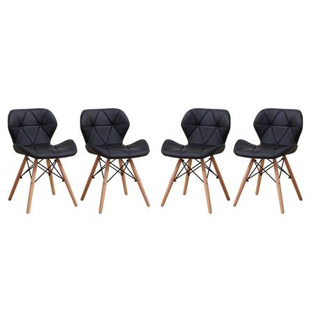 Комплект 4 стола Kring Rome, PU, Черен