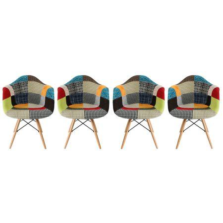 Комплект 4 стола Kring Lima, Patchwork, Текстилен материал, Многоцветен
