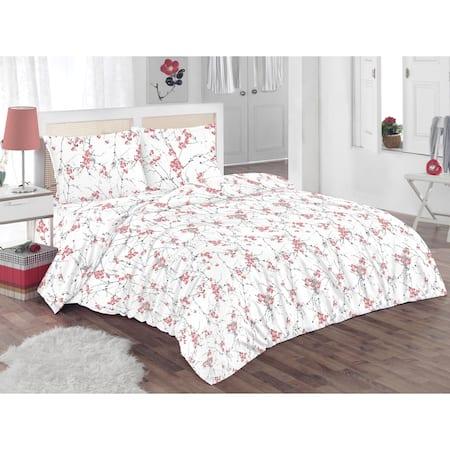 Спален комплект Kring Pastel, 100% памук, 132TC, Бял / Червен