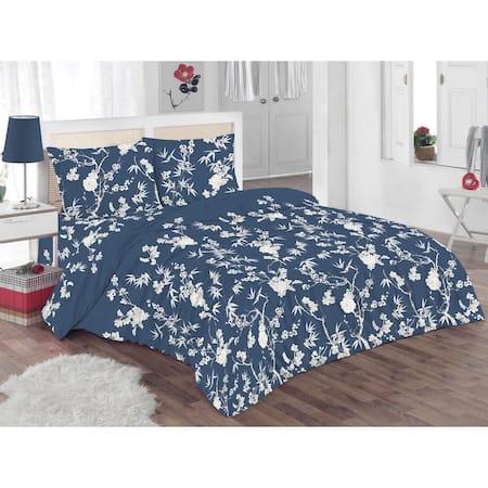 Спален комплект Kring Pastel, 100% памук, 132TC, Тъмносин/Бял
