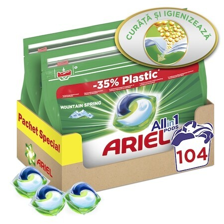 Капсули Ariel All in One PODS Mountain Spring, 2x52 броя, 104 изпирания