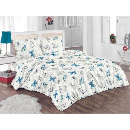 Спален комплект Kring Butterflies, 100% памук, 132TC, Бял/Сив/Син
