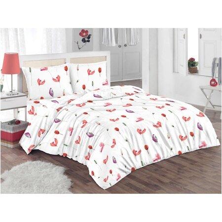 Спален комплект Kring Poppy, 100% памук, 132TC, Бял/Червен/Лилав