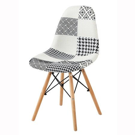 Комплект 4 стола Kring Kai, Модел Рatchwork, Материал текстил/дърво, Бял/Черен