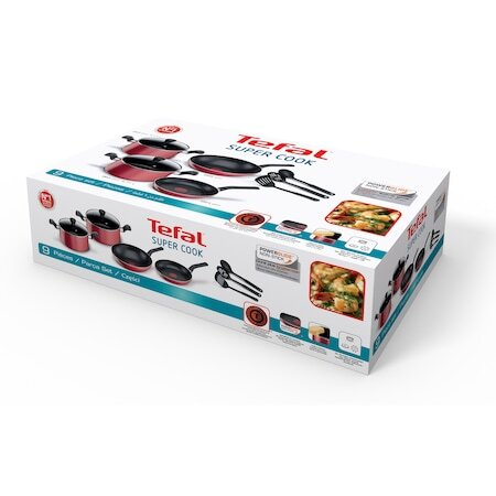 Комплект от 9 части Tefal Super Cook, 2 тенджери с капак, Wok, Тиган и 3 прибора