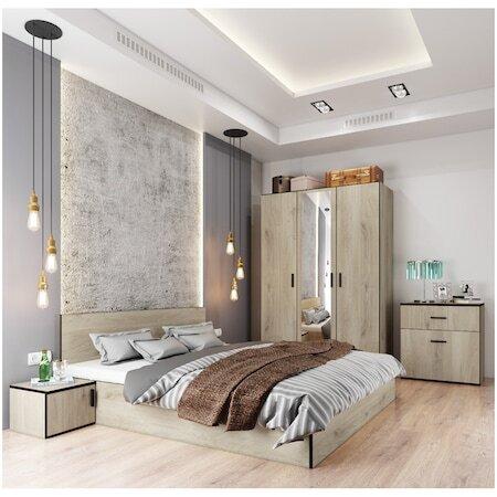 Комплект мебели за спалня Irim Treff, Легло 160x200 см, Гардероб, 2 нощни шкафчета, Скрин, Цвят Кестен