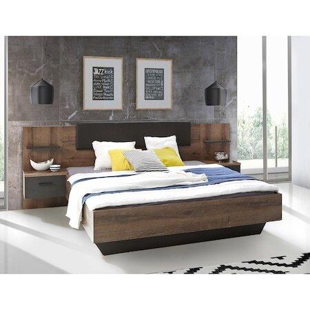 Легло с нощни шкафчета Kring Bronx, Дъб / Дъб Антраци, 256x94x206 см